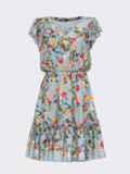 """Расклешенное платье с принтом и рукавом """"крылышко"""" голубое 53700, фото 4"""