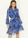 Голубое платье-трапеция с цветочным принтом и воланом по низу 53059, фото 2