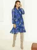 Голубое платье-трапеция с цветочным принтом и воланом по низу 53059, фото 3