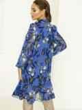 Голубое платье-трапеция с цветочным принтом и воланом по низу 53059, фото 4