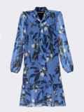 Голубое платье-трапеция с цветочным принтом и воланом по низу 53059, фото 5