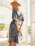 Платье-рубашка с принтом и закругленным низом бирюзовое 54134, фото 3