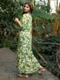 Длинное платье-рубашка из штапеля с принтом зеленое 53675, фото 2