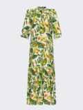 Длинное платье-рубашка из штапеля с принтом зеленое 53675, фото 3