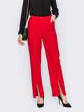Красные брюки с разрезом спереди по штанине 53142, фото 1