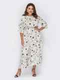 Белое платье большого размера с цветочным принтом 53937, фото 2