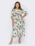"""Белое платье большого размера с принтом """"лаванда"""" 53936, фото 2"""