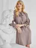 Бежевое платье-трапеция с воротником-аскот 50080, фото 2