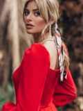 Красное платье-футляр с фигурным вырезом 45678, фото 2
