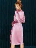 Приталенное платье из атласа с оборкой на юбке розовое 51958, фото 5