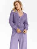 Вязаный костюм фиолетового цвета из кофты и брюк 54926, фото 1