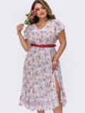 Белое платье батал в цветочный принт с разрезом на ноге 54481, фото 2