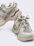 Кроссовки из искусственного материала бежевые 50596, фото 2