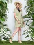 Льняное платье на кулиске по талии с оборкой хаки 22000, фото 2