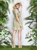 Льняное платье на кулиске по талии с оборкой хаки 22000, фото 3