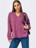 Хлопковый джемпер фиолетового цвета с удлинённой спинкой 54927, фото 1