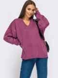 Хлопковый джемпер фиолетового цвета с удлинённой спинкой 54927, фото 2