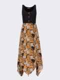 Коричневое платье с принтованным асимметричным низом 53839, фото 4