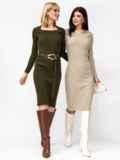 Вязаное платье цвета хаки с фигурным вырезом 52908, фото 1