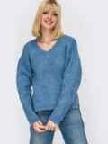 Тёплый свитер с V-образным вырезом горловины голубой 52912, фото 3