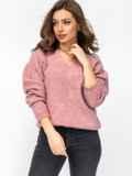 Тёплый свитер с V-образным вырезом горловины розовый 52911, фото 2