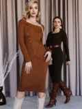 Вязаное платье коричневого цвета с фигурным вырезом 52907, фото 2