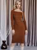 Вязаное платье коричневого цвета с фигурным вырезом 52907, фото 3