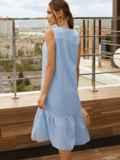 Голубое платье-трапеция из хлопка без рукавов 54191, фото 2