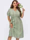 Платье батал с принтом и юбкой-трапецией мятное 54482, фото 1