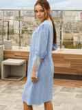 """Платье-трапеция из прошвы с рукавом """"фонарик"""" голубое 54147, фото 2"""