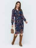Шифоновое платье на запах с принтом тёмно-синее 45058, фото 2