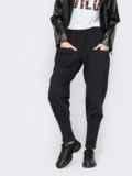 Зауженные брюки из джерси с накладными карманами черные 53146, фото 2