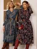 Бирюзовое платье с принтом и юбкой-полусолнце 52664, фото 2
