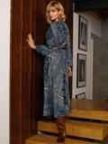 Бирюзовое платье с принтом и юбкой-полусолнце 52664, фото 7