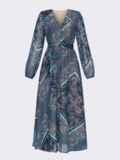 Бирюзовое платье с принтом и юбкой-полусолнце 52664, фото 8