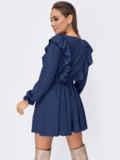 Короткое платье с рюшами по бокам темно-синее 53679, фото 3