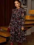 Расклешенное платье из шифона с турецким принтом черное 52661, фото 2