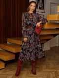 Расклешенное платье из шифона с турецким принтом черное 52661, фото 3