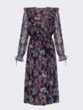 Расклешенное платье из шифона с турецким принтом черное 52661, фото 7