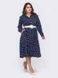 Расклешенное платье-рубашка батал из софта темно-синее 50919, фото 3