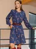 Темно-синее платье-трапеция с цветочным принтом 52658, фото 2