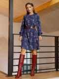 Темно-синее платье-трапеция с цветочным принтом 52658, фото 3