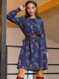 Темно-синее платье-трапеция с цветочным принтом 52658, фото 4