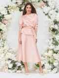 Костюм розового цвета из блузки и юбки-трапеции 44742, фото 5