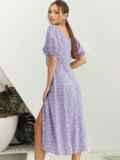 Платье из принтованого софта с разрезом по бедру сиреневое 54070, фото 3