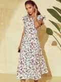 Платье молочного цвета с орининальным вырезом по спинке 53982, фото 1