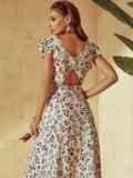 Платье молочного цвета с орининальным вырезом по спинке 53982, фото 2