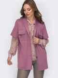Розовая рубашка из джерси с накладными карманами 52039, фото 2