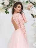 Розовое платье с гипюровым верхом и объёмной юбкой 44763, фото 4