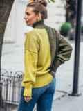 Вязаный свитер цвета хаки с высоким воротником 50714, фото 3